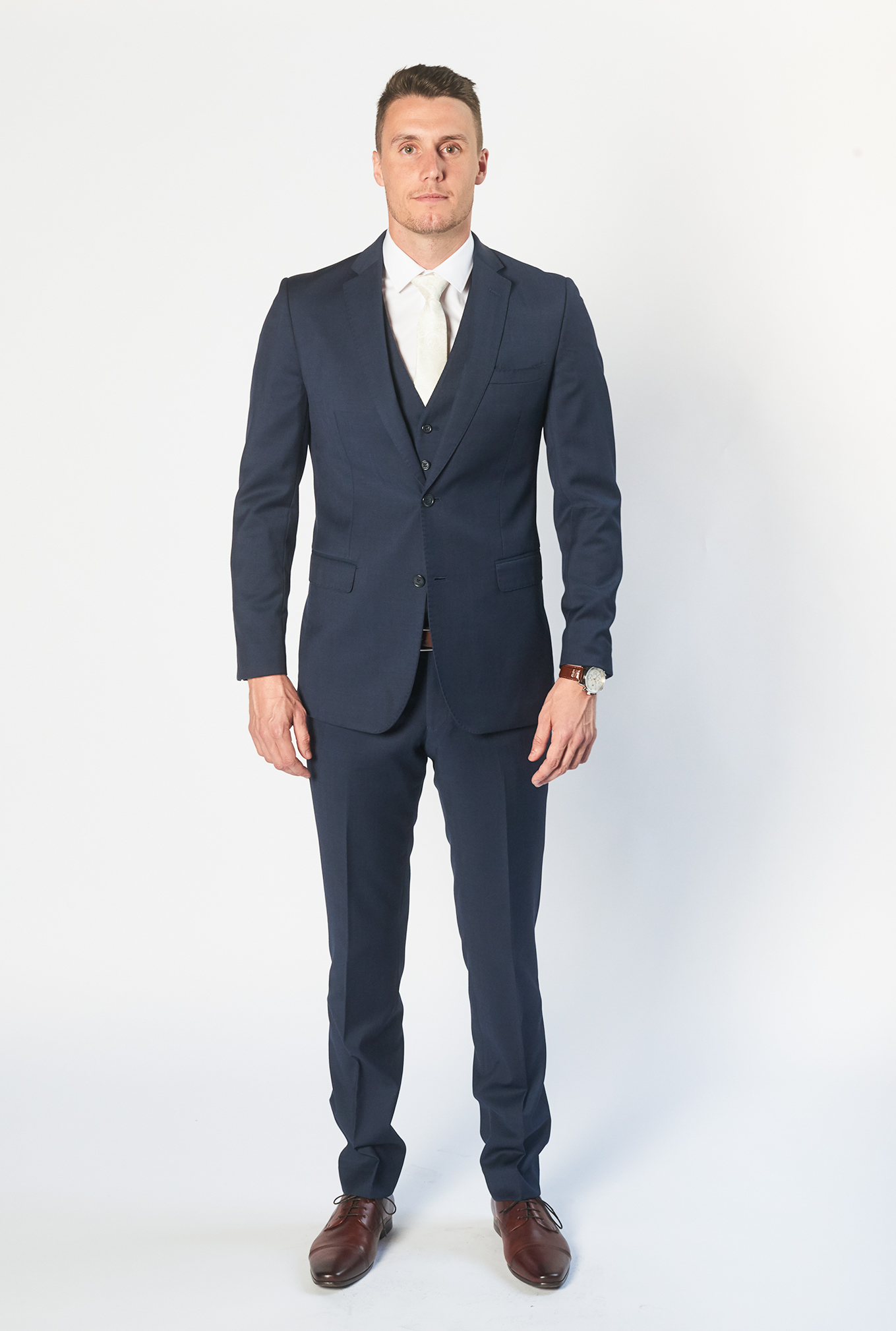 The Icon navy blue suit for hire or sale