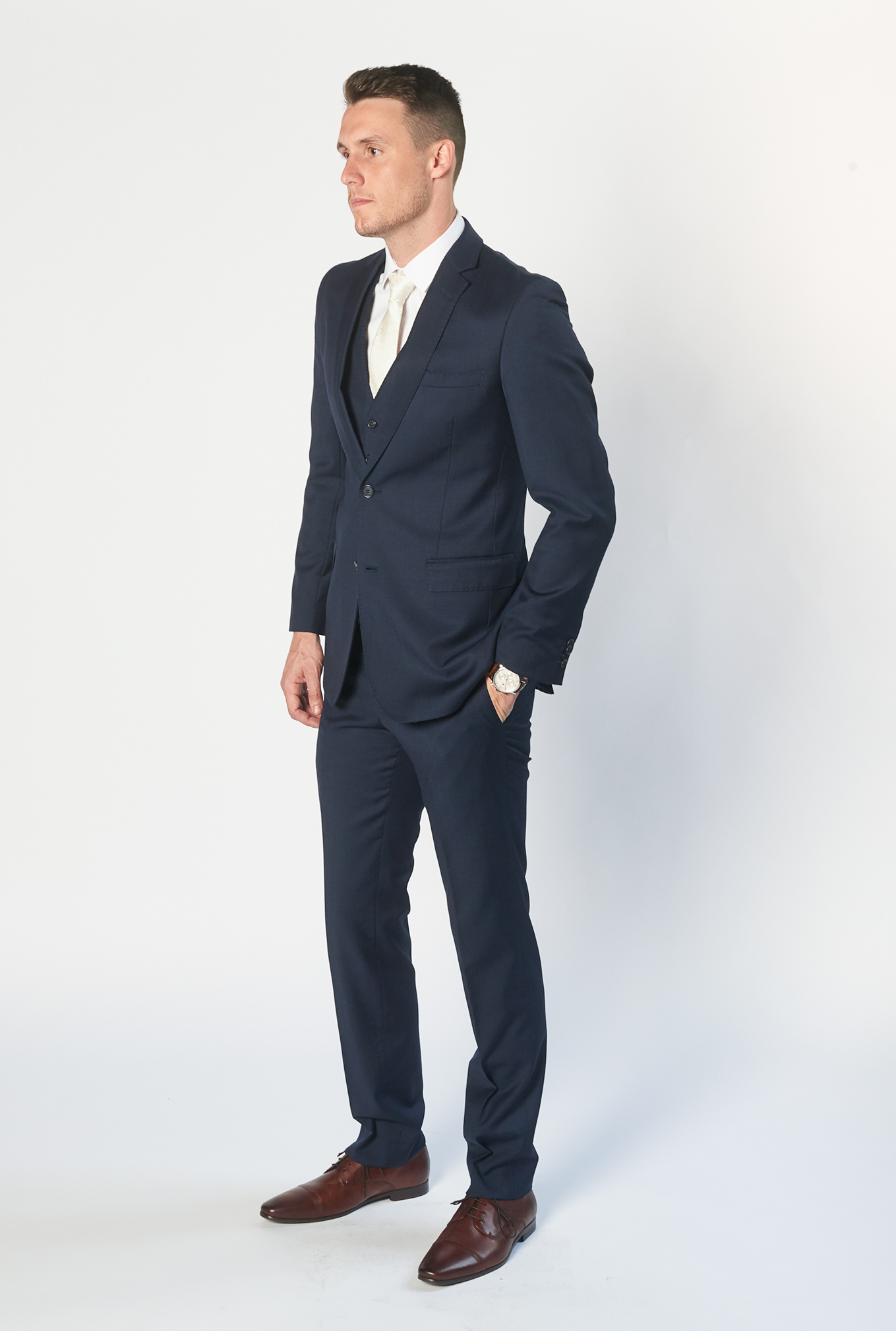 The Icon navy blue suit side view