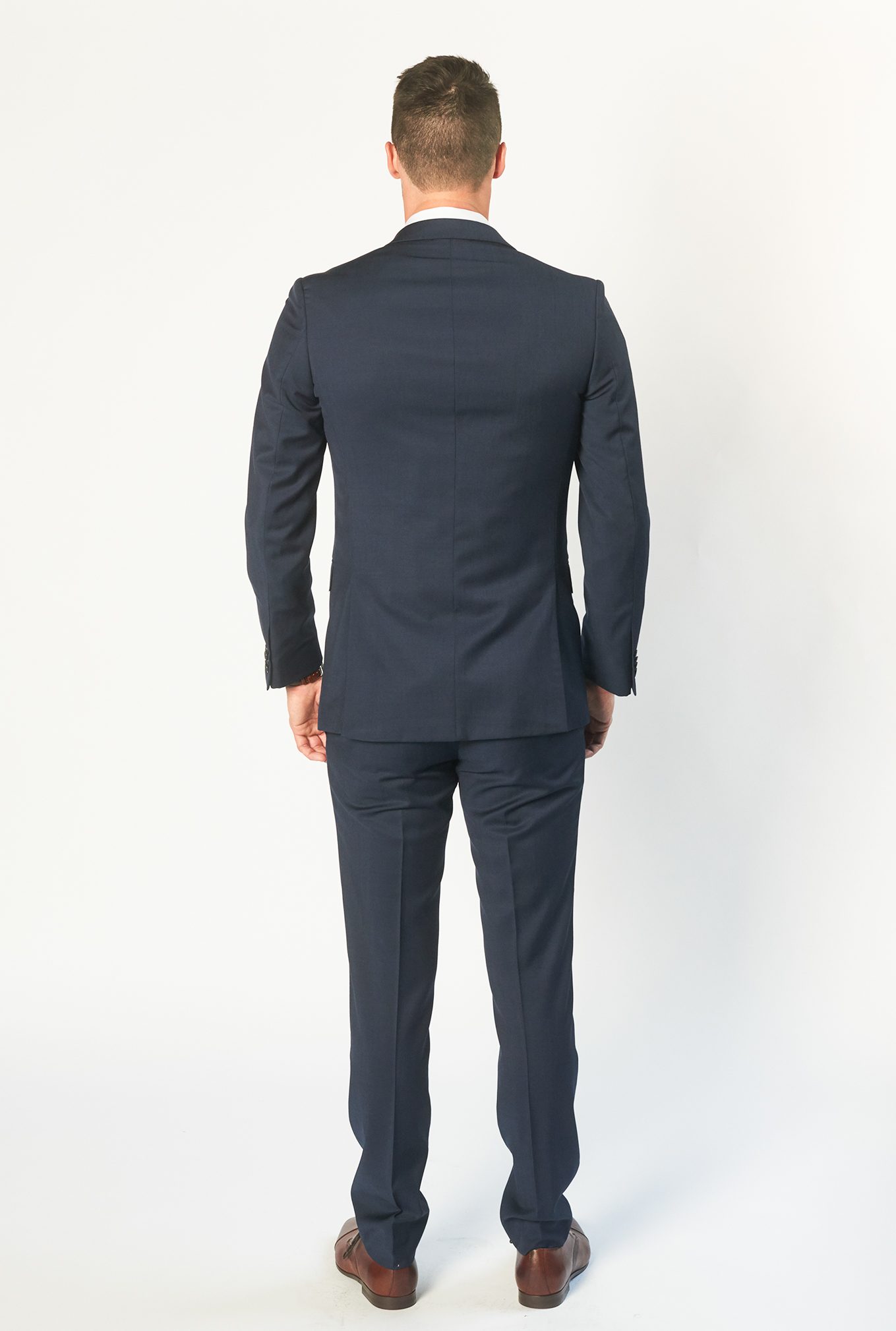 The Icon navy blue suit back view