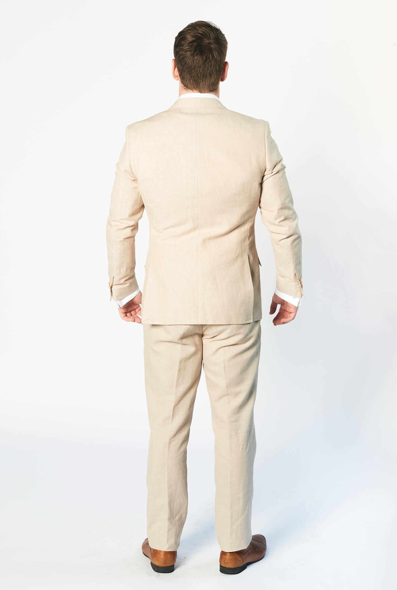 The Louis sand coloured suit back view