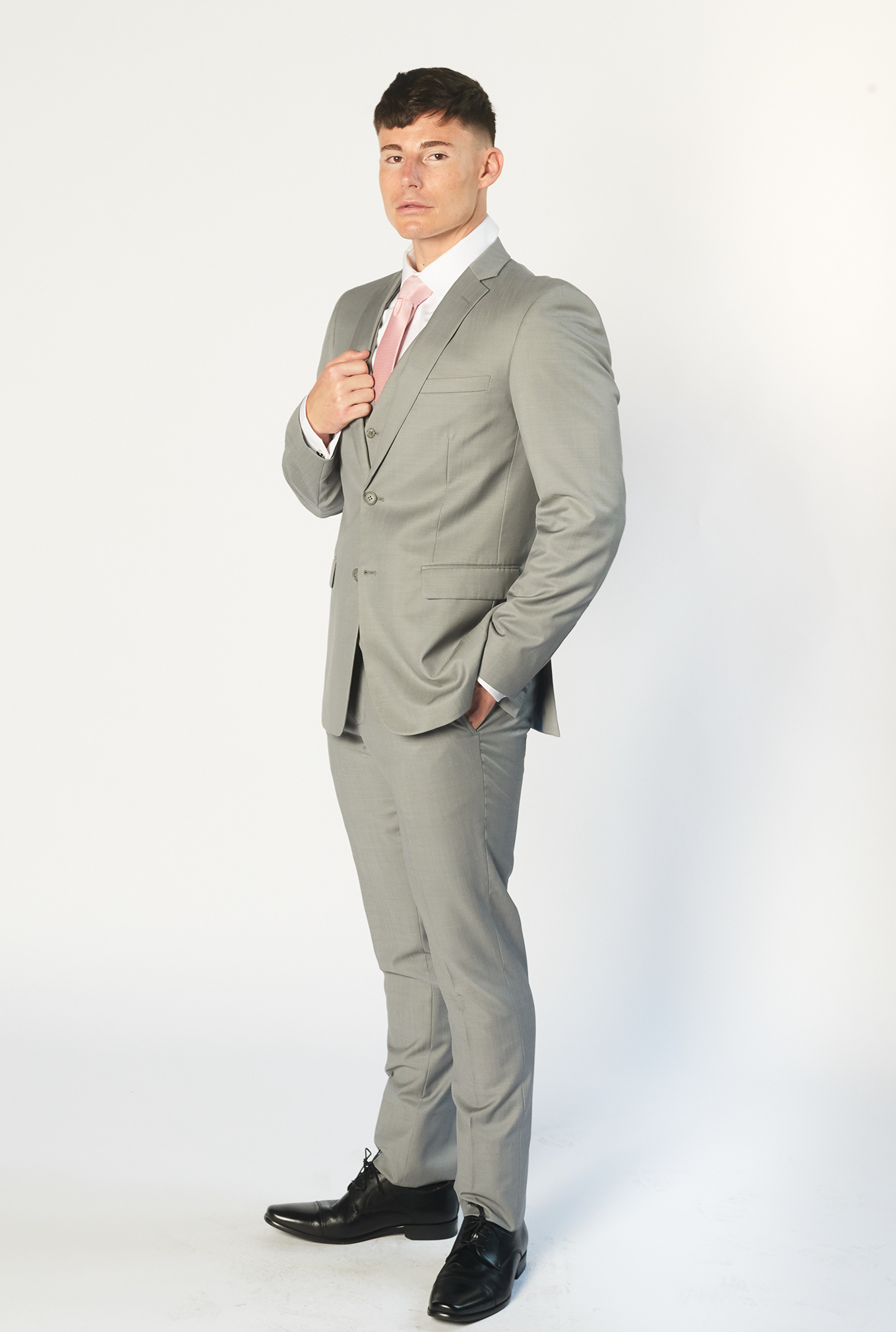 The Jet light grey suit side view