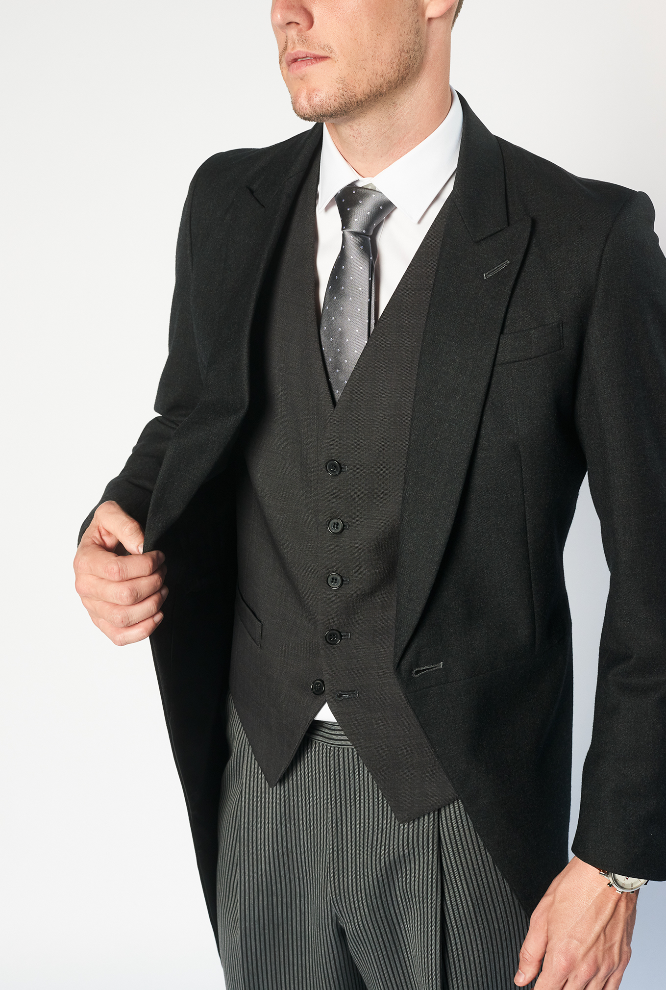 The Morning Suit close up of black jacket