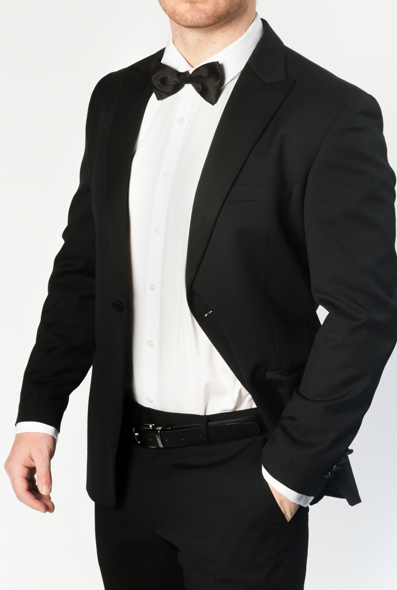 The Oxford tuxedo with close up of peak lapel